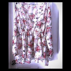 Sheer cream floral blouse